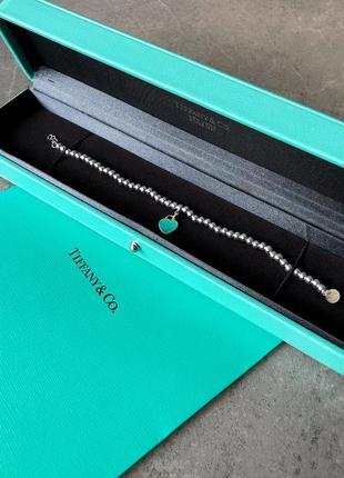 Браслет в стиле return tiffany & co blue heart tag bead bracelet