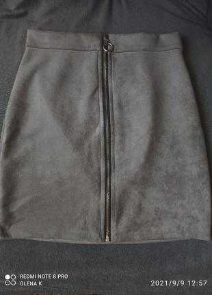 Спідниця сіра юбка  серая замш