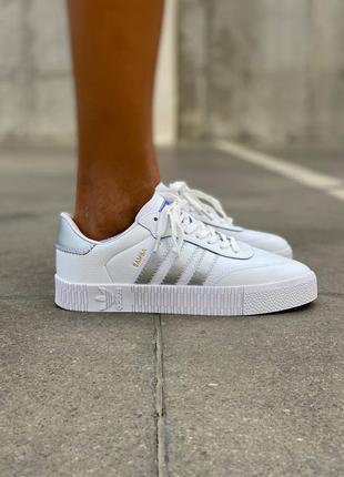 Женские кроссовки  samba white/silver кожа демисезонные