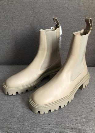 Кожаные ботинки ботильоны челси zara