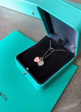 Подвеска в стиле return to tiffany blue double heart tag pendant