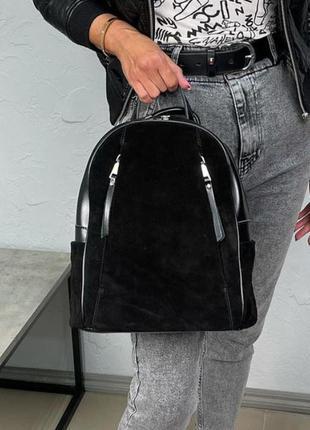 Черный рюкзак спереди натуральная замша+кожа
