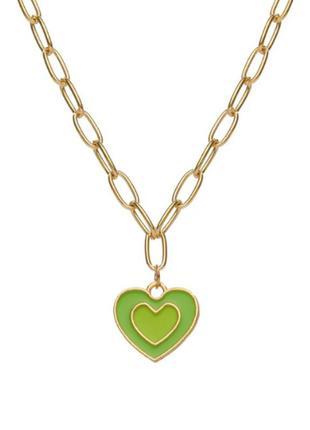 Кулон сердце цепочка золотая
