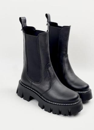 Чёрные ботинки челси на высокой подошве из натуральной кожи