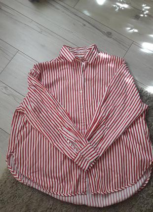 Рубашка женская полосатая красно-белая h&m