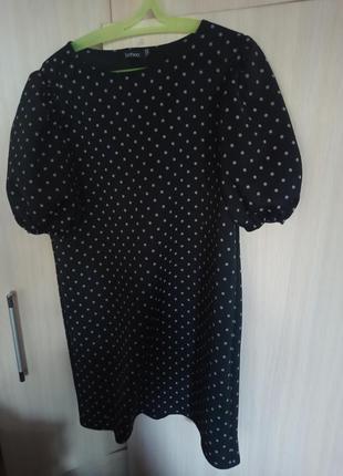 Немнущиеся👗 платье в горошек с пышным рукавом размер l-xl