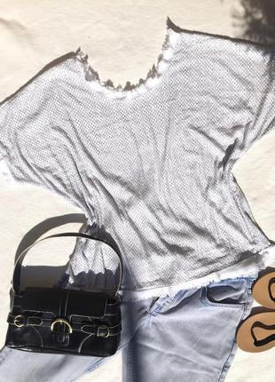 Белая блуза с паетками new collection италия размер s 36 m 38 l 40