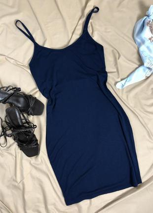 Мини платье по фигуре синего цвета boohoo