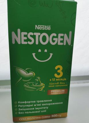 Сухая молочная смесь nestogen 3 с лактобактериями l. reuteri для детей с 12 месяцев, 300 г   дитяче харчування