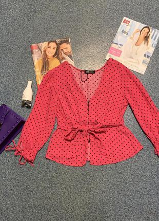 Яркая блуза zara рубашка кофта малиновая в горох топ кроп