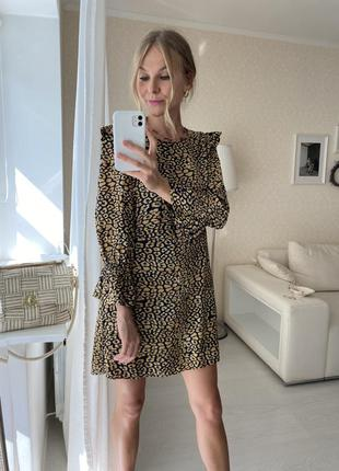 Леопардовое платье анималистический принт рюши