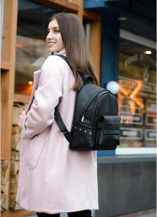 Рюкзак городской женский экокожа черный мятный рюкзак жіночий
