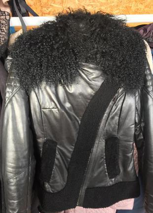 Курточка кожаная  дубленка зима