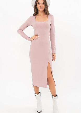 Платье с разрезом - трикотаж мустанг резинка (3 цвета)