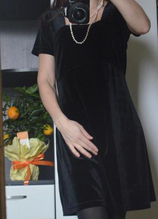 Платье черное, велюр, бархат