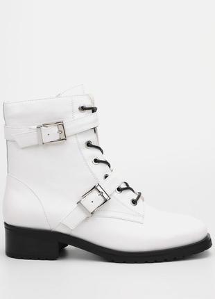 Жіночі оригінальні черевики браска /женские кожаные ботинки в белом цвете