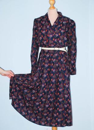 Платье винтажное с руковом свободная юбка приталенное миди