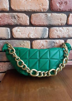 Зелёная сумка в стиле zara / сумка / мини-сумка / zara / сумка-круасан / круасан