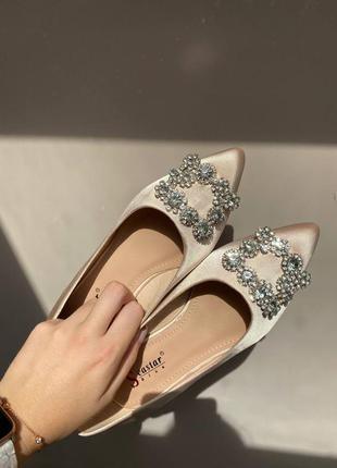 Весільні / нарядні балетки / туфельки з брошкою