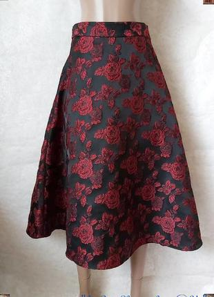 Фирменная primark нарядная юбка миди солнце клёш с фактурным рисунком роз, размер с-м