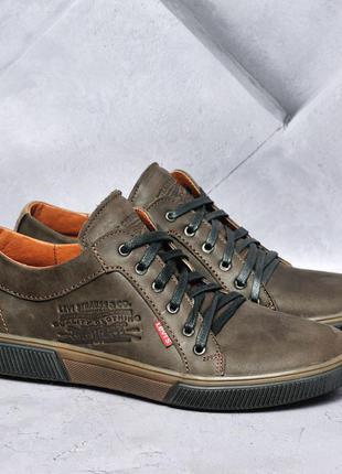 Мужские кожаные туфли / кеды коричневые