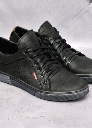 Кожаные мужские кеды/туфли чёрные удобные