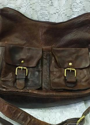 Фирменная кожаная сумка rowallan. ручная работа. унисекс. близкая к новой