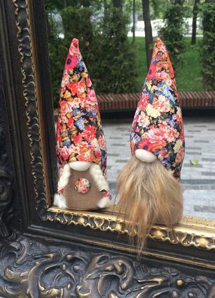 Парочка скандинавских гномов, домовой, интерьерная игрушка ручной работы
