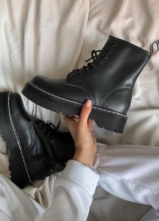 Ботинки dr. martens jadon black white thread(без меха)