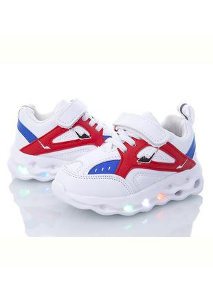 Детские белые светящиеся кроссовки для мальчика с led подсветкой