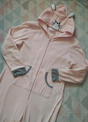 Кигуруми пижама слип комбинезон для дома с капюшоном флисовый зайчик розовый нежный