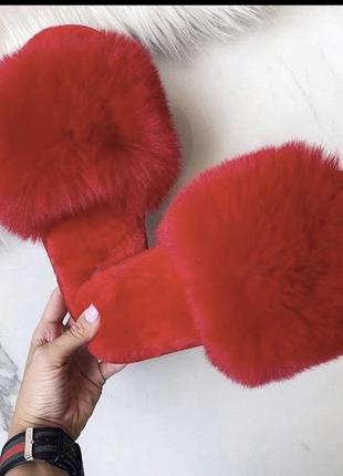 Домашние тапочки тапки женские красные шлепки шлёпанцы