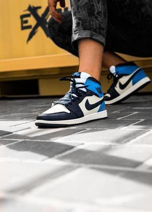 Кроссовки nike air jordan 1 blue/black/white