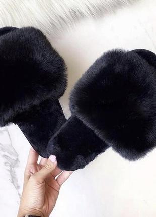 Домашние тапочки тапки женские чёрные шлепки шлёпанцы