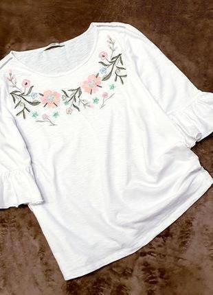 George блуза блузка с вышивкой белая в цветы 16 44 рукав волан рюши пог 56 см