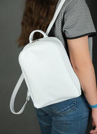 Жіночий рюкзак, рюкзачок, натуральна шкіра, ручна робота, гладка шкіра, колір білий