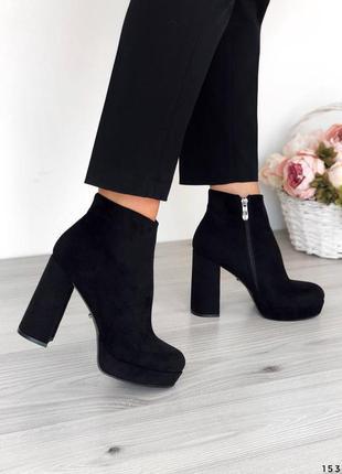 Черные ботильоны женские ботинки замш на каблуке замшевые