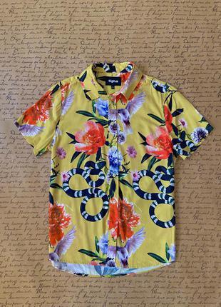 Яркая желтая мужская рубашка с коротким рукавом свободная принт змеи, птицы, яркие цветы