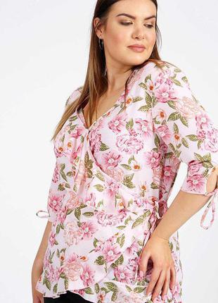 Романтичная блуза на запах цветочный принт 26/60-62 размера lovedrobe