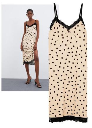 Zara платье платье сарафан в бельевом стиле на брительках в горох с кружевом zara