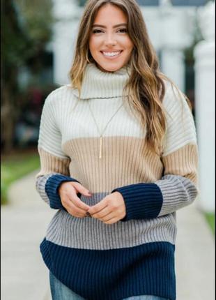 Кашемировый свитер туника колор блок 100% кашемир.