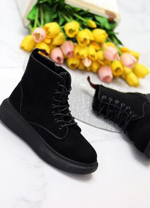 Универсальные черные женские замшевые ботинки на флисе низкий ход