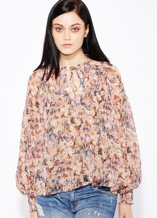 Широкая блузка топ блуза с объёмными рукавами в цветочный принт