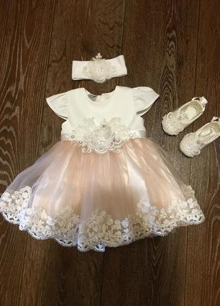 Невероятно красивый нежный набор платье бодик колготки пинетки повязка юной принцессе
