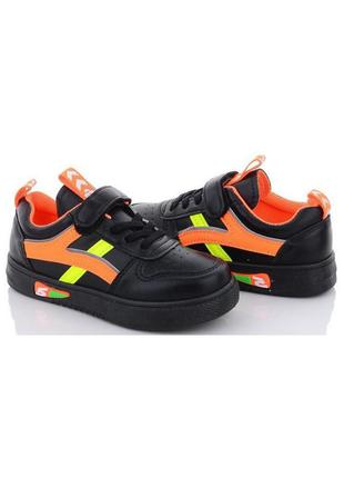 Детские черные кроссовки с оранжевыми вставками