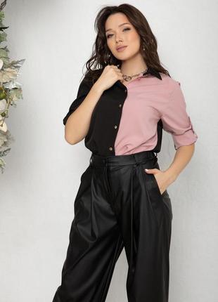 Черно-розовая рубашка с подворотами