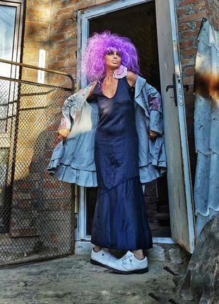 Платье шелк коттон хлопок mania grace асимметричная сарафан макси длинное шелковое