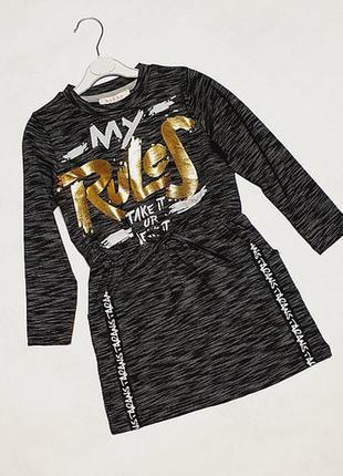 Платье детское темно-серый меланж на 5-7 лет.