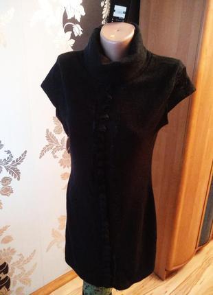 Новое тёплое платье туника высокий ворот гольф гипюр, l xl