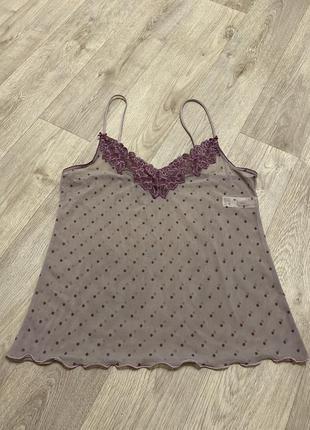 Майка сеточка в горошек m&s вех от пижамы прозрачный